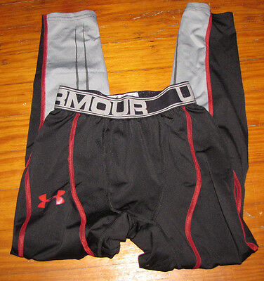 Under Armour Youth Small Leggings Long Johns Black Red Base Layer Pants Euc