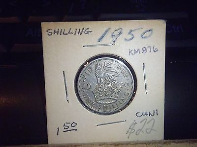 Great Britain 1950 One Shilling Coin (England Version) - King George Vi-Fine
