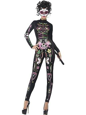 Sugar Skull Cat Costume Day Of The Dead Jumpsuit Halloween Fancy Dress