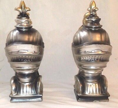 Matching Set of 2 Vintage Musical Knight Decanters Ceramic Book Ends bookend