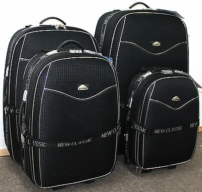 Set Of 4 Suitcases Lightweight Wheel Suitcase Trolley Case Travel Luggage Black