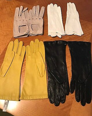 ANTIQUE VINTAGE 1960s KID LEATHER GLOVES LOT OF 4 SETS MINT CONDITION Size 8