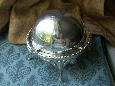 Old Vintage English Silver Plated Glass Georgian Style Butter Ball Tureen Dish