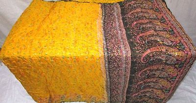 Yellow Black Pure Silk 4 yd Vintage Antique Sari Saree Wall Hanging Steal #EKB7H