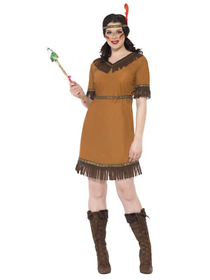 Native American Indian Maiden Costume Fancy Dress Pocahontas Wild West