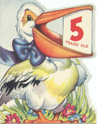 Unused Vintage Birthday Card for 5-Year-Old - Pelly the Pelican