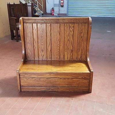Antique/vintage/rustic Oak Church Pew/settle/high Back Seating/hall Bench