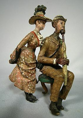 Antique Austrian Vienna Bronze Cold Painted Dandy Gentleman Woman
