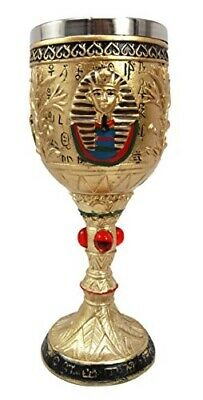 Ancient Egyptian Pharaoh King Tut Resin Wine Goblet Chalice With Stainless Steel