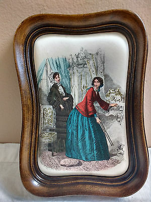 Vintage Italian Wall Plaque Wooden Frame Print on Satin/Silk