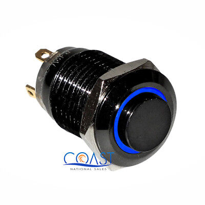 Durable 12V 12mm Elevated Car Black Button Blue Angel Eye LED Momentary Switch