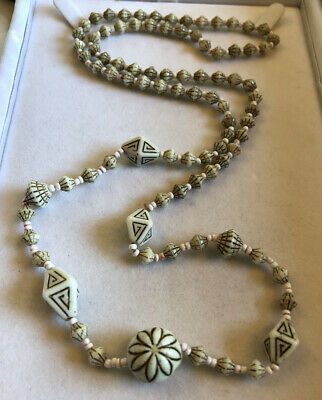 Vintage Necklace Glass Bead Egyptian Revival