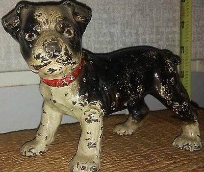 Antique Solid Cast Iron PUPPERS Boxer Dog Statue Doorstop Chipped & Charming