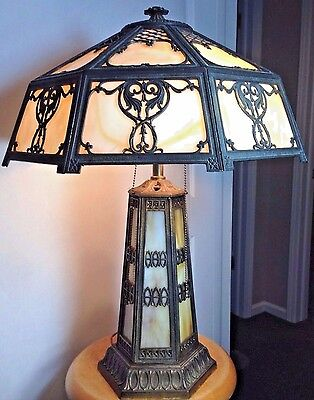 Antique Vintage Slag Glass Arts Crafts Victorian  Bradley Hubbard Era Lamp 25""