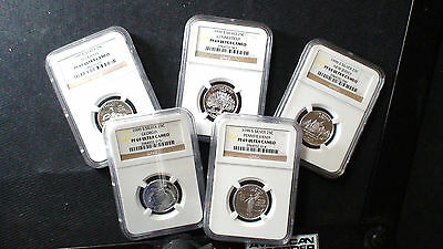 1999 NGC PF69 Ultra Cameo Silver State Quarter 5 Coin Set