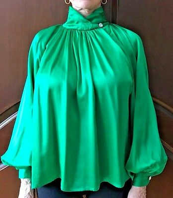 Elizabeth Arden Emerald Green 100% Silk High Collar Button Blouse Size 4