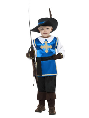 Musketeer Kids Costume Medieval Knight French Royal Soldier Fancy Dress