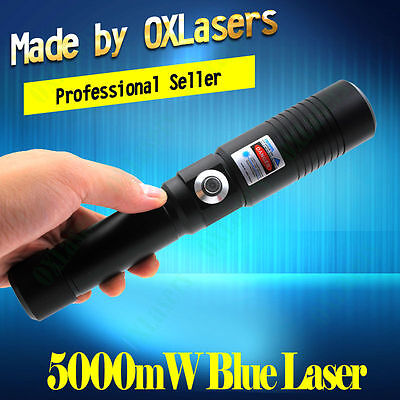 High Power 450nm Blue Laser Pointer Pen Military Light Beam Burn Match 5kmW