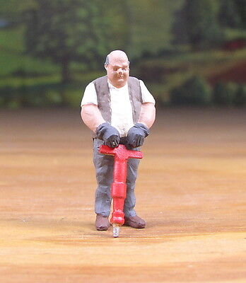 Detailed Man With Jack Hammer Metal Pewter Figure O / S Scale Train Layout