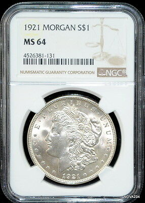1921 P $1 Morgan Silver Dollar Ngc Ms-64