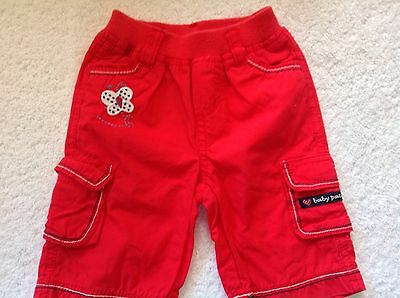 Pumpkin Patch Girls Size 000 Red Cargo Shorts Butterfly Design As New
