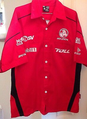 Holden Mens Large L Collared Cotton Short Sleeve Red  As New ⭐️