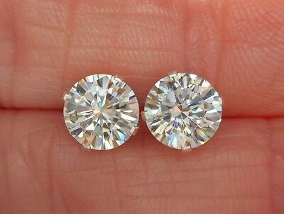 EARRING PAIR SILVER 1.96 TCW .98 ct  VVS1 6.75 mm ICY WHITE ROUND MOISSANITE