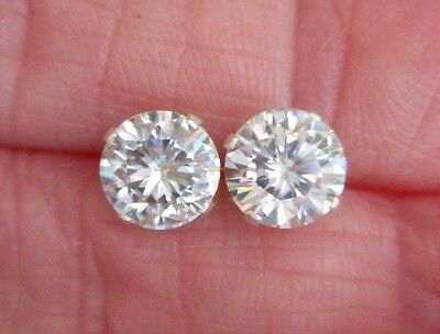 EARRING PAIR SILVER 2.06 TCW 1.03 ct  VVS1 6.85 mm ICY WHITE ROUND MOISSANITE