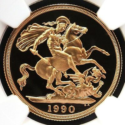 1990 Gold Great Britain Sovereign Coin Ngc Proof 69 Ultra Cameo