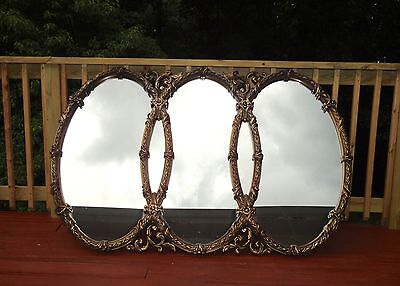 BASSETT Large VTG Triple Oval Gold Mirror Ornate Hollywood Regency Decor
