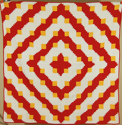 AMAZING Vintage 1890's Red & Cheddar Barn Raising Log Cabin Antique Quilt!