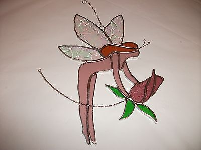 HANDMADE stained flower fairy with pink-purple rose suncatcher