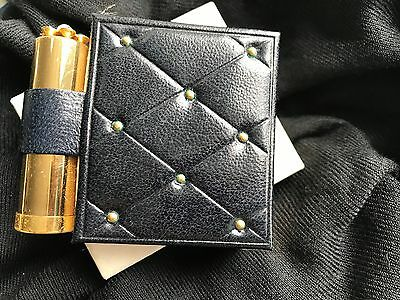 Black and Gold Compact and Lipstick Holder Book Style Never Used