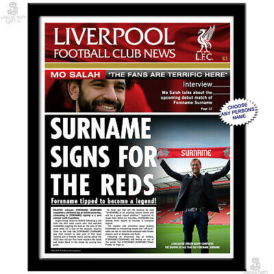 Personalised LIVERPOOL Newspaper. Football Fan Gift Idea. Page, Framed or Folder