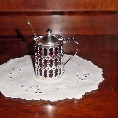 Antique Sterling Silver Openwork Cranberry Glass Lined Condiment pot/jar