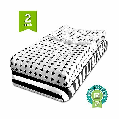 Changing Pad Cover Cradle Bassinet Sheets Fitted Jersey Cotton (2 Pack) Black...