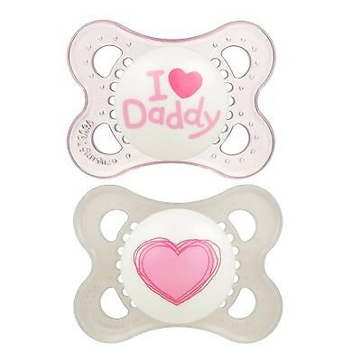 Lot of 4 MAM Love Affection Orthodontic Pacifier, I Love Daddy, Girl 0-6 Months