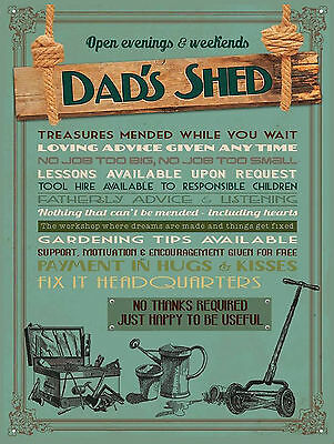 Dads Shed, Retro Metal Aluminium Vintage Sign shed Man Cave Gift