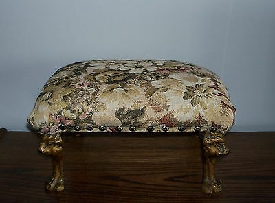 Victorian Style Footstool Lion's Head/Paw Legs