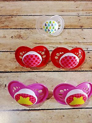 Lot of 5 MAM Orthodontic Pacifier Girl 6+ Months Pink White Red