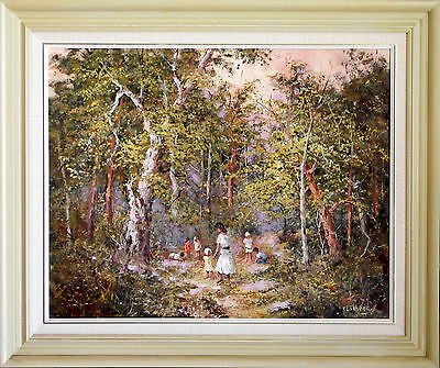 Thea Lokkers Large Impressionist Original Oil Painting Children & Sand in Woods