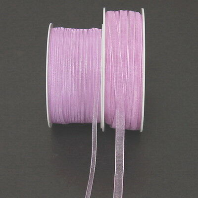 Organza Band lilac 3mm/ 50 Meters m. fine Selvedge