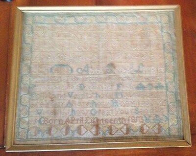 Antique sampler 1822 needlework embroidery framed and dated by Abby Sweet Lippit