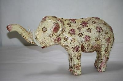 Elephant Figure Paper Mache Cream Pink Gold Star Circles Vintage Imported RARE