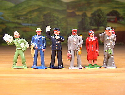 1950s BARCLAY 6 METAL FIGURES LITTLE PEOPLE SET LOT O - S SCALE RAILROAD LAYOUTS
