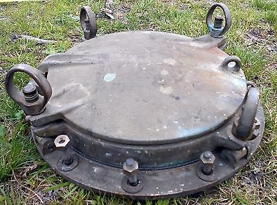 """Antique PORTHOLE WWII Ship Maritime 20"""" Nautical Relic Brass Storm Cover 4 Dogs"""