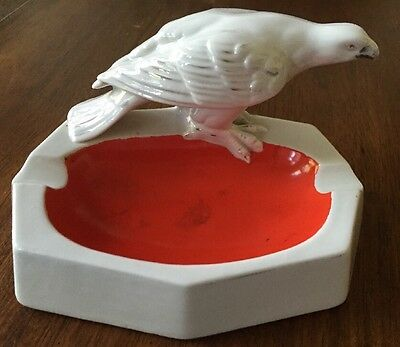 Antique Vintage Porcelain Ashtray With Eagle Stamped Foreign