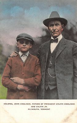 Tinted Postcard Colonel John Coolidge & Calvin Jr. in Plymouth, Vermont~112034