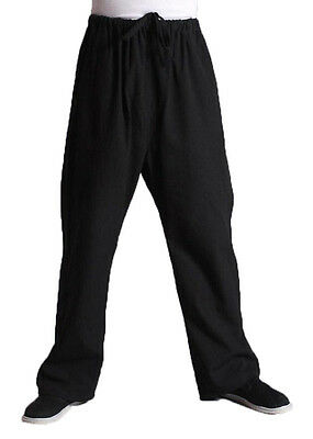 Chinese Tang Suit Men Martial Arts Trousers Kung Fu Tai Chi Cotton Pants