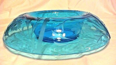 "Vintage Blue Glass Etched Floral Rolled Edge Console Bowl 13-1/2"" Excellent"